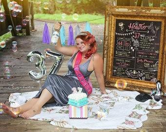 Editable Adult Birthday Chalkboard Photoshop Template