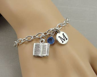Book Charm Bracelet, Book Bracelet, Initial and Birthstone Bracelet, Silver Plated Link Charm Bracelet