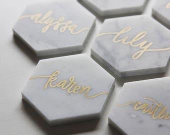 Custom Hand-Lettered White Marble Hexagon Tile Place Cards