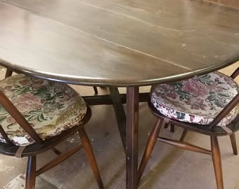 Ercol table and 4 Quaker chairs. For painting