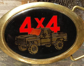Vintage Oval Solid Brass Baron Belt Buckle with Inlay Baked Enamel 4 x 4 Truck Red, Gold, Black & Orange 1988 Made In the USA