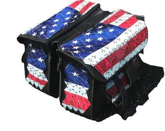 Vintage Leather Saddle Bags, with USA FLAG