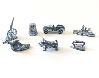 8 Vintage Monopoly Game Pieces - Monopoly Tokens - Pewter Game Pieces - Retired Monopoly Iron - Replacement Pieces - Craft Supplies