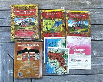 Dungeons And Dragons World Of Greyhawk TSR Complete Set - Fantasy RPG - Advanced D and D - Two Books - One Complete Map - RARE Complete Set