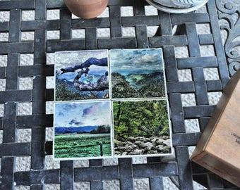 Smoky Mountains Photo Art Tile Coasters Set of 4