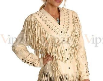 Vipzi Western Women's Cow Leather Jacket with Fringe and bone