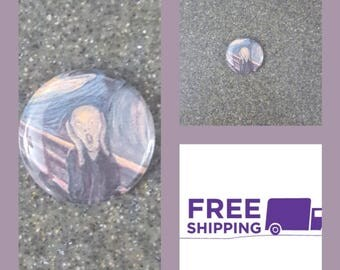 """1"""" The Scream Button Pin or Magnet, FREE SHIPPING & Coupon Codes"""