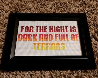 Game of Thrones Lord of Light quote cross stitch