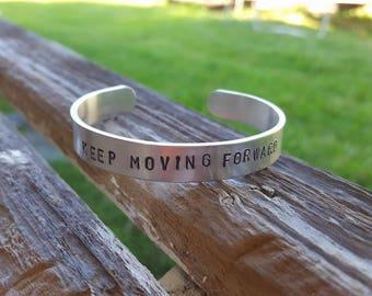 "3/8"" x 6"" - 'Keep Moving Forward' Aluminum Cuff Bracelet"
