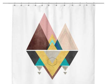Modern Mountain Shower Curtain