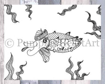 Cuttlefish Coloring page