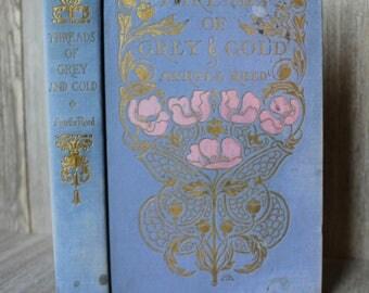 "Lavender Vintage Antique Book Decor Embossed Gilt Decorative Distressed Tattered ""Threads Of Grey & Gold"" Myrtle Reed Margaret Armstrong"