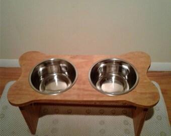 Bone Shaped Elevated Large Double Dog Bowl Stand