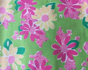 Lilly Pulitzer Flowers and Sneaky Rhinos Printed Fabric