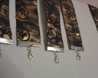 Pirate Skulls Faux Leather Bracelet