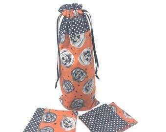 Pumpkins Wine Bag with Fabric Coasters | Wine Gift Baskets | Best Wine Gifts | Best Hostess Gifts | Wine Bottle Bag | Wine Bottle Decor