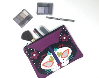Cat Cosmetic Bag, Makeup Brush Holder, Make-up Bag, Makeup Bag, Pencil Case, Makeup Organizer, Makeup Organizers, Zipper Pouch, Day of Dead