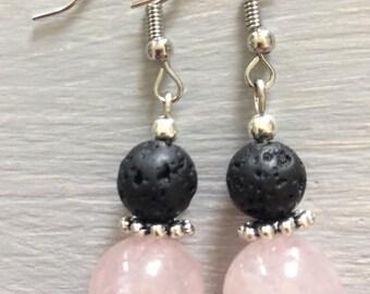 Rose Quartz and black lava earrings