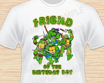 Teenage Mutant Ninja Turtles Iron On Transfer. TMNT Friend of the Birthday Boy Iron On. Ninja Turtles Birthday Shirt. Download Printable 1