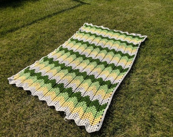 Vintage Handmade Afghan, Chevron Yellow and Green Crocheted Granny Throw Blanket | granny knit blanket