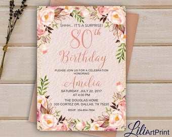 80th Birthday Invitation, Floral Women Birthday Invitation, Any Age Birthday Invite, Pink Invitation, Digital file, 15