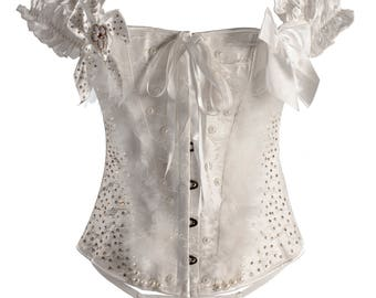 Cream Over Bust Corset With Cap Sleeves