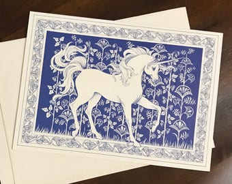 Set of 15 Vintage Recycled Paper Products Unicorn Christmas Cards