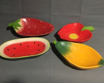 Vintage Fruit Themed Wooden Bowls Watermelon Strawberry Mango Apple