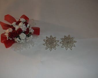 Silver/Rice Pearl Star Sew On Pieces