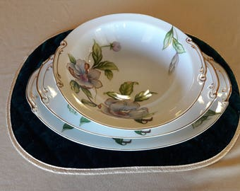 Roselyn China Japan Dogwood round vegetable bowl and 2 serving platters
