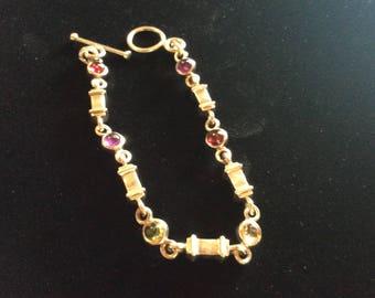 Sterling and gemstone link bracelet