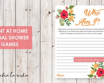 Who Am I? Bridal Shower Game. Instant Download. Printable Bridal Shower Game. Yellow Flowers. Red and Orange - 02