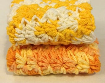 Set of 2 Handmade Crochet Dishcloths 100% Cotton