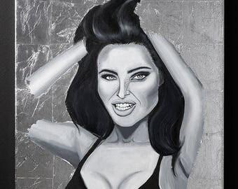 Mara Teigen painting silverleaf black and white acrylic on canvas