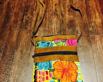 Crossbody colorful embroidered handbag