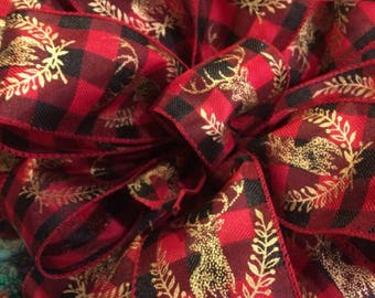 Christmas tree topper Large Christmas tree bow Christmas decor. Rustic Christmas Plaid bow Rustic Christmas ribbon Primitive Christmas bows.