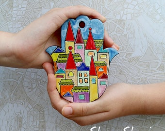 Ceramic Hamsa. Wall hanging Hamsa. Jewish gifts. Judaica. Home Decor. Hamsa Hand. Housewarming Gift.