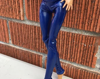 Dark Blue PVC Shiny Stretch Pants for your Monster High Doll - Monster High Doll Clothing