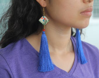 Handmade Blue Tassel Earrings, Royal Blue Earrings, Extra Long Earrings, Fringe Earrings