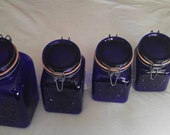 Cobalt Blue italian canning jar set vintage 1968