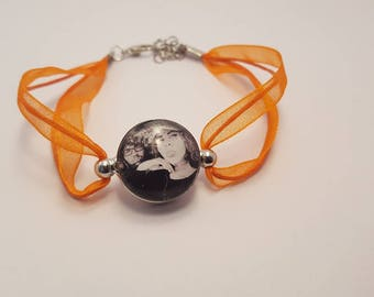Orange button pressure, custom photo bracelet, cabochon