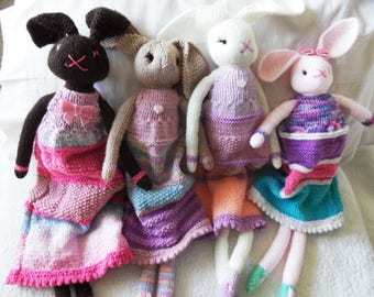 Hand Knitted Long Legged Dressed Bunny Doll