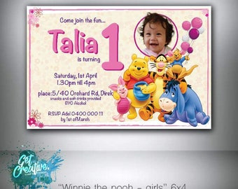 Winnie the pooh birthday invitation - digital file supplied