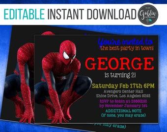 Spiderman Invitation, The Amazing Spiderman invitation, Spiderman 3 invitation, Spiderman Homecoming birthday invitation, Instant download