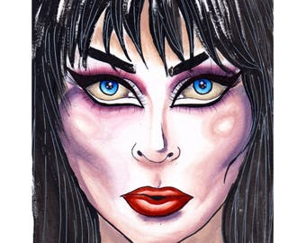 Elvira, Mistress Of The Dark water colour painting