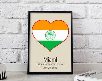 Miami poster Miami art Miami City poster Florida Miami print wall art Miami wall decor Gift print