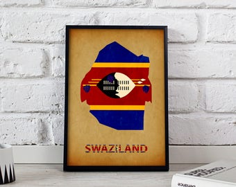 Swaziland poster Swaziland art Swaziland Map poster Swaziland print wall art Swaziland wall decor Gift print