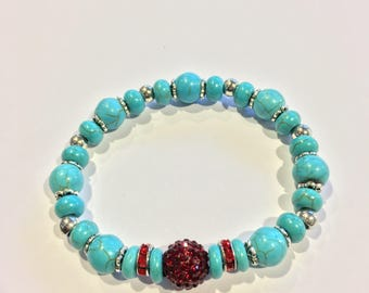 Turquoise & Ruby Red Crystal  Rhinestone Pave Disco Ball Bracelet