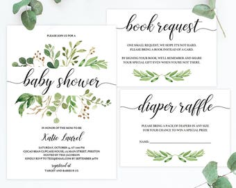 Green Baby Shower Invitation Pack, Watercolor Baby Shower Invite Fall Baby Shower Invitation Sets Baby Invitation Download Editable GL1