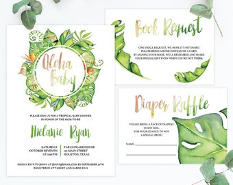 Aloha Baby Invitation Template Baby Shower, Tropical Baby Party Invites, Gender Neutral Baby Invitations, Monstera Leaf, DIY Watercolor TL1
